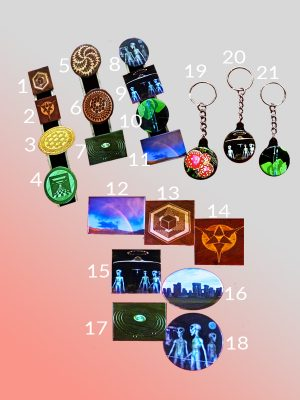 PINS, MAGNETS, KEYCHAINS – UFO, ETs and MAGICAL IMAGES