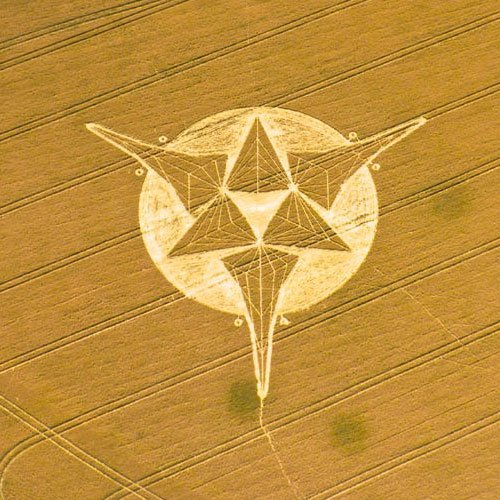Three point star Crop Circle - Wiltshire England UK - from Patty Greer Films