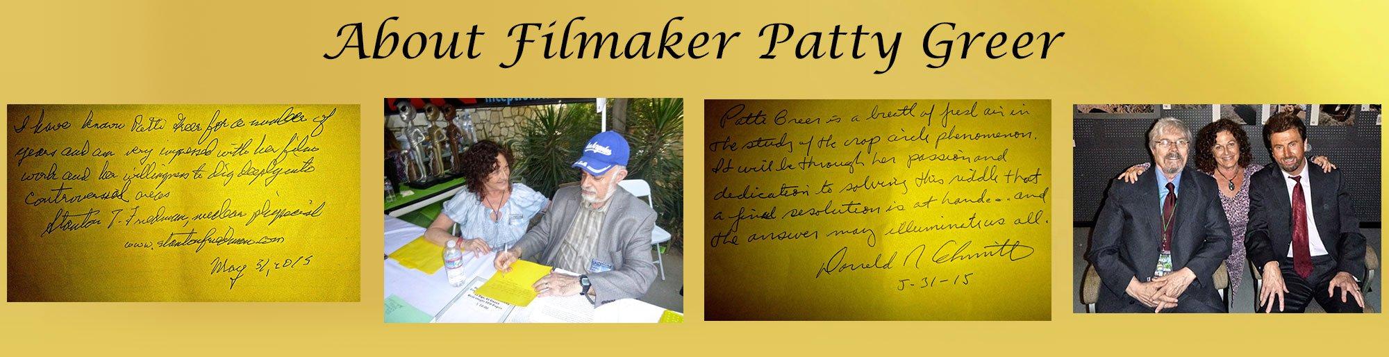 Patty Greer makes award winning films about crop circles.